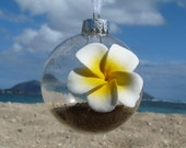 Plumeria Sand Sea Shell Hawaiian Round Ornament