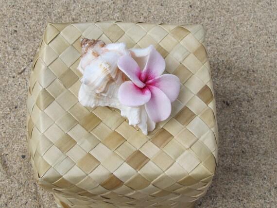 Hawaiian Lauhala Plumeria Shell Gift Favor Jewelry Box - Square Large