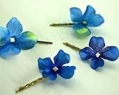 Four Blue Hydrangea Bobby Pins