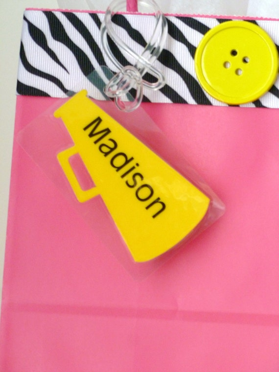 Personalized name tag / id tag / bag tag in cheerleading megaphone shape