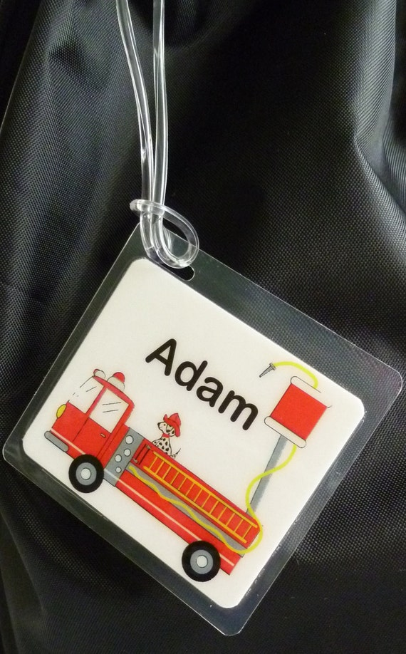Bag Tag /Name Tag  Firetruck style by Toddle Tags