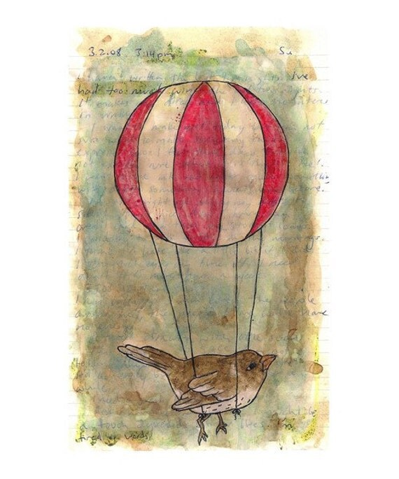 A Bird and a Hot Air Balloon (5 x 8 Print)