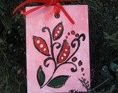 ACEO Christmas Ornament holiday art card red christmas flowers art card small format art