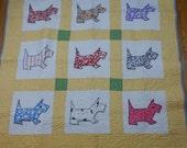 Scottie Dog Applique Baby Quilt