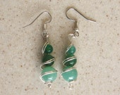 Hand Made Silver Wrapped Aventurine Earrings  SSA01