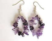 Hand Made Amethyst Chip Earrings   AME01