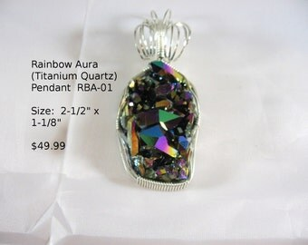 Rainbow Aura Cluster Pendant