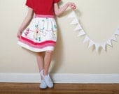 Recycled VintageTablecloth Skirt- girls 8-  white & red floral