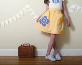 Upcycled Shirt Skirt- girls 7-  yellow gingham and blue floral applique