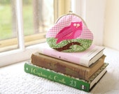Owl Coin Purse: Pink & Green Handmade Woodland Applique - Owl Purse - Bird Applique Purse-Gift for Her