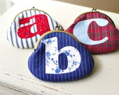 Personalized Coin Purse- Handmade Applique Initial Purse- Monogrammed- Birthday Present- Christmas Gift for Her- 16 colors available