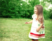 2T Tablecloth Dress- Vintage Recycled Red & White Floral