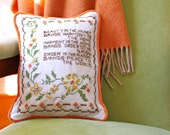 Vintage Embroidery Pillow: Recycled Cross Stitch Sampler - Orange, Gold, Sage - Home Decor - Recycled Shirt Back