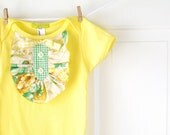 CLEARANCE Yellow Ruffle Onesie- Baby Girl- Yellow Ivory Green Vintage Floral-  3-6m- Baby Shower Gift- Children Spring Fashion