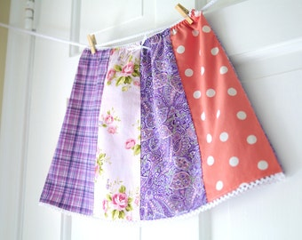 SALE 3T Girls' Picnic Skirt- Lavendar and Pink Patchwork Skirt- Paisley- Girls Spring Fashion- Shabby Chic- Clearance- LAST ONE