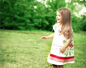 Little Girls' Floral Dress 2T: Vintage Recycled Red & White Floral Tablecloth- Ecofriendly Upcycled Clothing