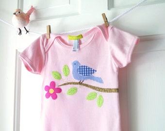 SALE 12-18m Baby Girl Bird Onesie- Pink Handmade Bird Applique Bodysuit- Baby Shower Gift- CLEARANCE