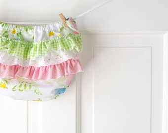 RuffleDiaper Cover Bloomer- Recycled Vintage Pastel Floral- 6m 12m 18m- Baby Shower Gift- Baby Girl Easter Fashion
