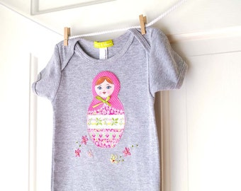 Matryoshka Doll Onesie- Pink and Grey- Handmade Nesting Doll  Onesie- 6m 12m 18m- Baby Girl Shower Gift