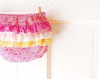 Ruffle Diaper Cover Bloomer- pink & yellow- 3m 6m 12m 18m- Baby Shower Gift- Baby Spring Fashion