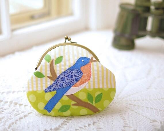 Bird Purse- Bluebird Coin Purse- Blue and Lime Handmade Applique- Gift for Mom- Teacher Gift- Gift for Her