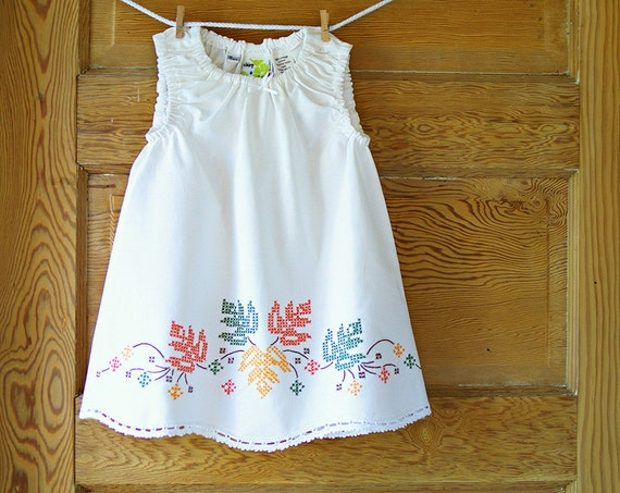 Handmade Baby Dress- 18m- Shabby Chic- Vintage Pillowcase Dress- Fall Foliage Embroidery- Heirloom Baby Shower Gift