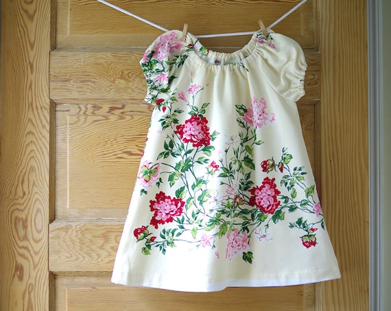 2T Tablecloth Dress- Vintage Recycled Burgundy and Pink Floral on Butter Cotton Blend- Toddler Girls Dress