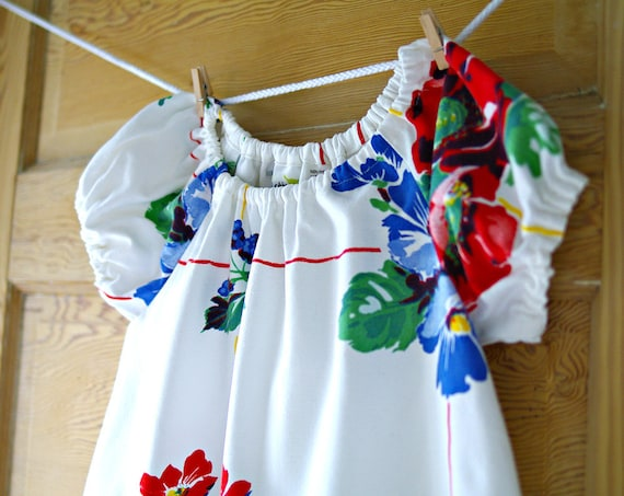 4T Tablecloth Dress- Recycled Vintage Red White and Blue Floral Cotton Tablecloth- little Girl Dress
