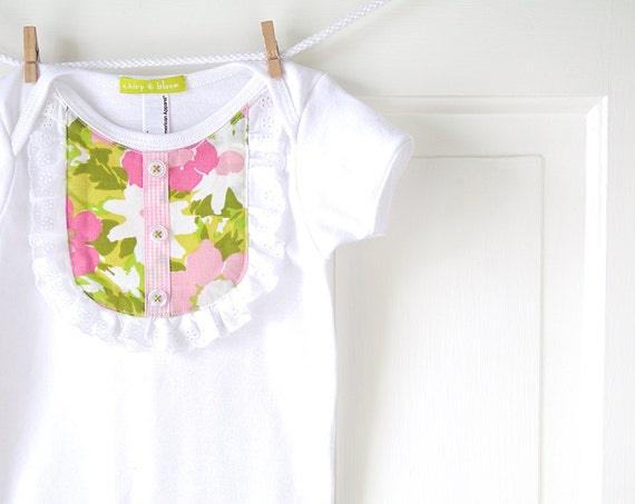 Baby Girl Ruffle Yoke Onesie- Pink and Green Vintage Watercolor Floral- Handmade- 6m 12m 18m- Baby Shower Gift- Recycled- Spring Fashion