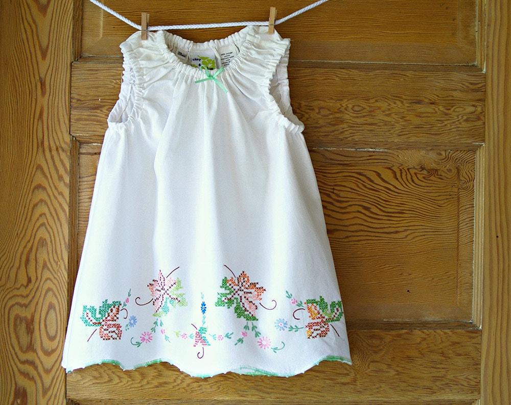 Handmade Baby Dress 24m Shabby Chic Vintage Pillowcase