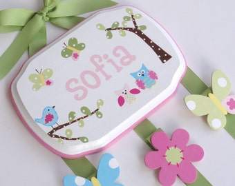 Hand Painted & Personalized 7x9 hair bow holder (3)