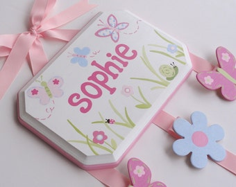 Hand Painted and Personalized 7x9 hair bow holder (10)
