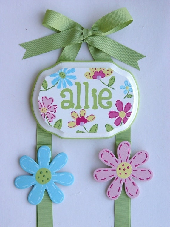 Hand Painted and Personalized 5x7 Hair Bow Holder  FLORAL (7)