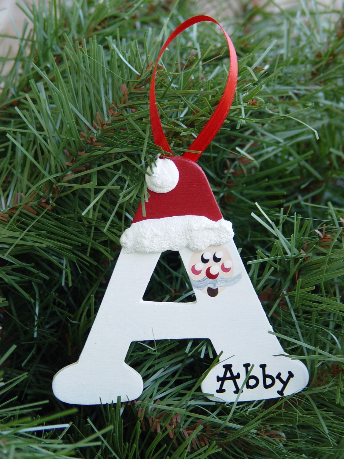 Wooden Letter Christmas Tree Decorations : Personalized santa letter ornaments
