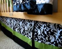 Custom Box-Pleat Crib Skirt, Two or Three Prints/Fabrics, you pick the fabric