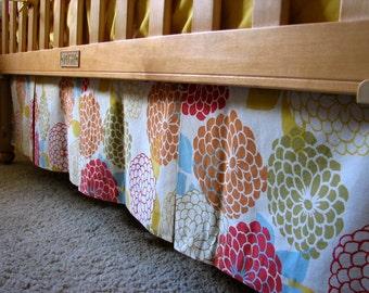 Custom Box-Pleat Crib Skirt, one print, you pick the fabric