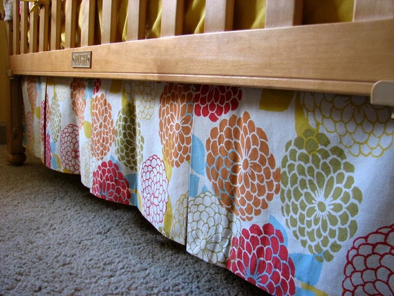 Custom Box-Pleat Crib Skirt, one print, you pick the fabric