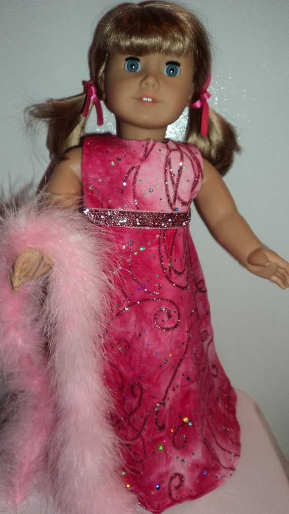 American Girl doll clothes - Pink Glitter  Gown and Boa