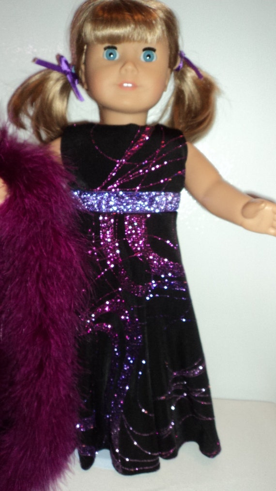 American Girl doll clothes -Black/Purple Gown and Boa