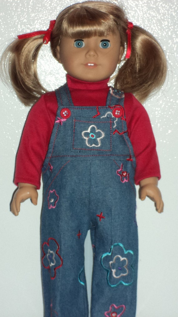 American Girl Doll Clothes - Denim Bibs and Turtleneck