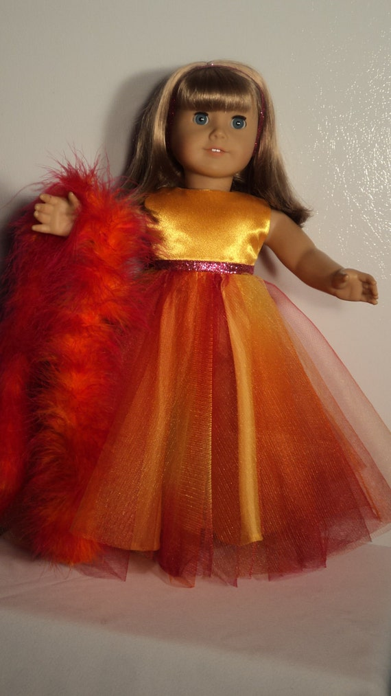 American Girl doll clothes - Gold Rainbow Gown and Boa
