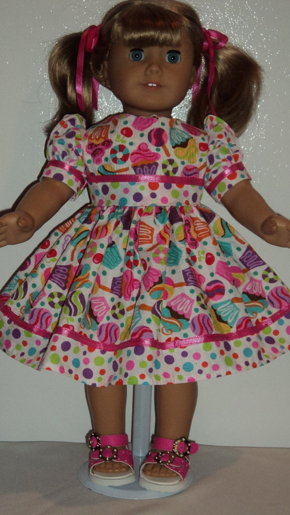 American Girl doll clothes - Cupcake Candy  Dress & Sandals