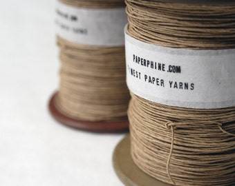 Paper Yarn - Strong Natural Paper Twine on a Vintage Bobbin - Kraft - DIY, Crochet, Knit, Handwash