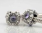 PURPLE Crystal FLOWER Sterling Silver European Charm Bead