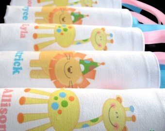 Personalized giraffe hippo lion zoo safari animals first birthday 1st birthday baby shower party favor bags