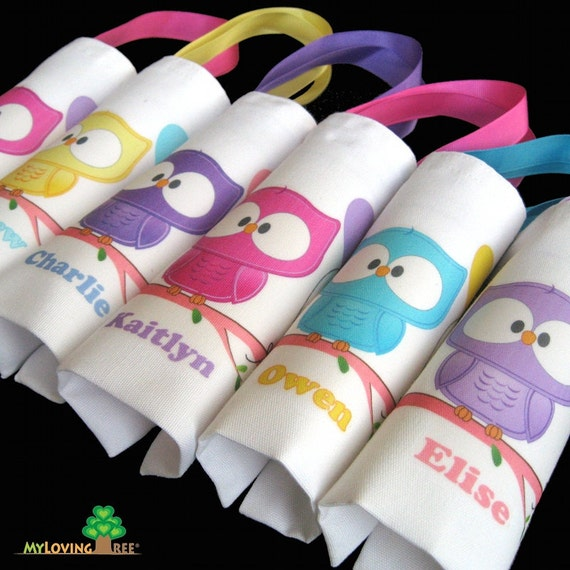 Personalized owl themed first birthday party favor bags gift bags tote bags for kids woodland animals