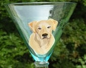 Yellow Lab Hand Painted Martini Glass ~ Boyfriend Gift ~ Martini Glass ~ Labrador Retriever ~ Dog Painting ~ January Birthday