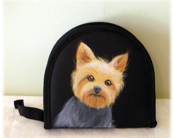 Yorkshire Terrier Hand Painted CD Wallet ~ Unusual Gifts ~ Car Accessories ~ Yorkshire Terrier Gift ~ Gifts for Him