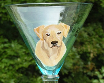 Yellow Lab Hand Painted Martini Glass ~ Boyfriend Gift ~ Gifts Under 30 ~ Martini Glass ~ Labrador Retriever