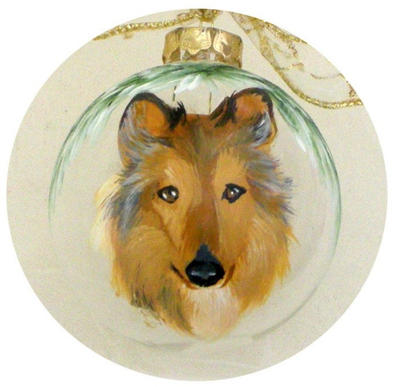 Collie Dog Hand Painted Ornament  ~ Birthday Gift ~ Gifts Under 50 ~ Pet Keepsake ~ Gifts for Him